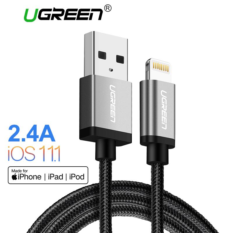 UGREEN 1Meter Apple Lightning Cable for iPhone 5s 6/6S/6S Plus 7/7Plus 8/8Plus, Apple MFI, Lightning to USB Data Sync Cable Grey