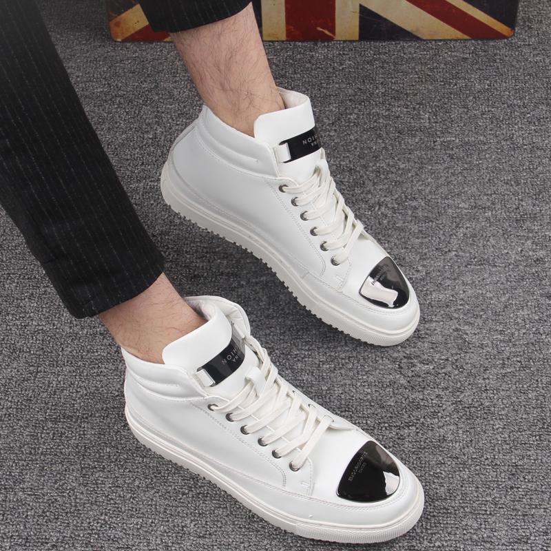 Tinggi Negara Korea Fashion Style Tambah Beludru Merah Musim Dingin Pasang Sepatu Sepatu Engkel Tinggi (Putih Dari Versi Normal)