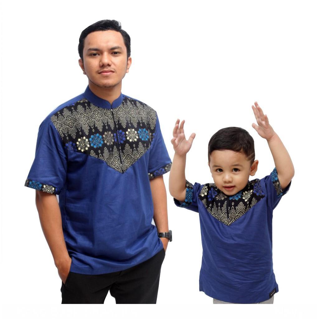 Koko Batik Couple Biru Dongker (Anak Xxl)