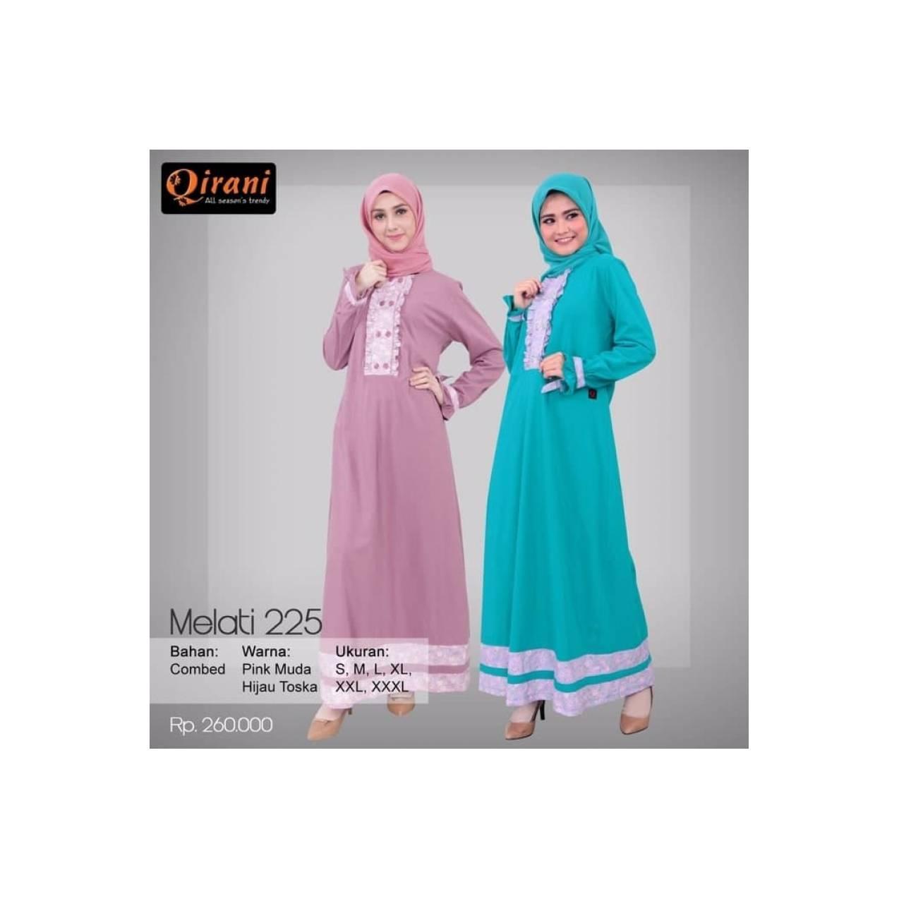 Baju MuslimahDress/Gamis Murah Bahan Katun Qirani Melati QR -225