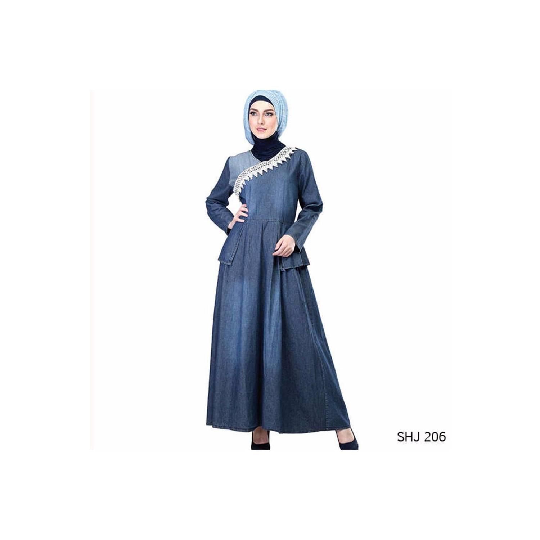 promo baju Gamis Bahan Jeans Biru