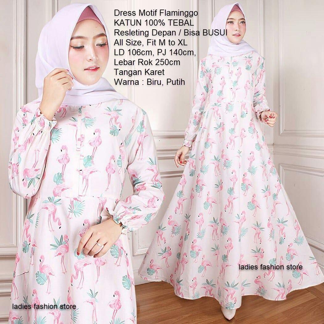 Gamis Bisa BUSUI JUMBO Motif Flaminggo / Gamis Resleting Depan / Dress Muslimah Katun Tebal / Dress