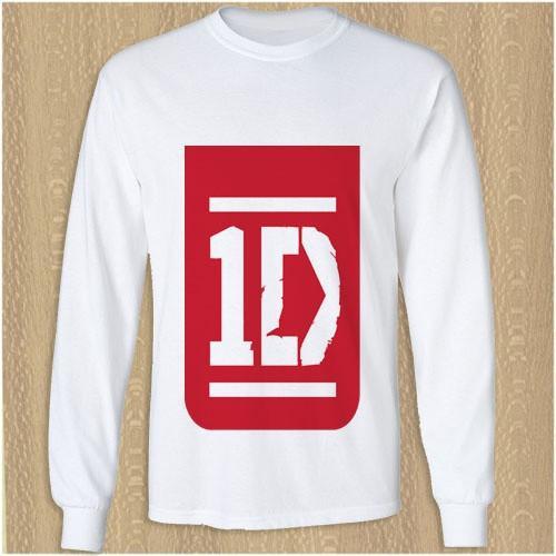One Direction Red Logo Kaos T Shirt Lengan Panjang DTG A3 - 4En1mj