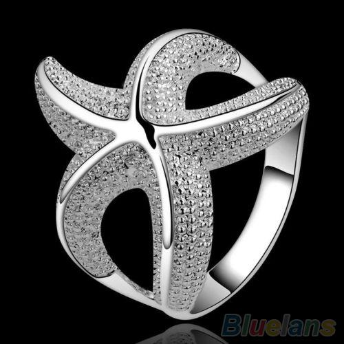 Phoenix B2C Wanita Girl's Delicate Perhiasan Hadiah Tembaga Berlapis Perak Cincin Bintang Laut