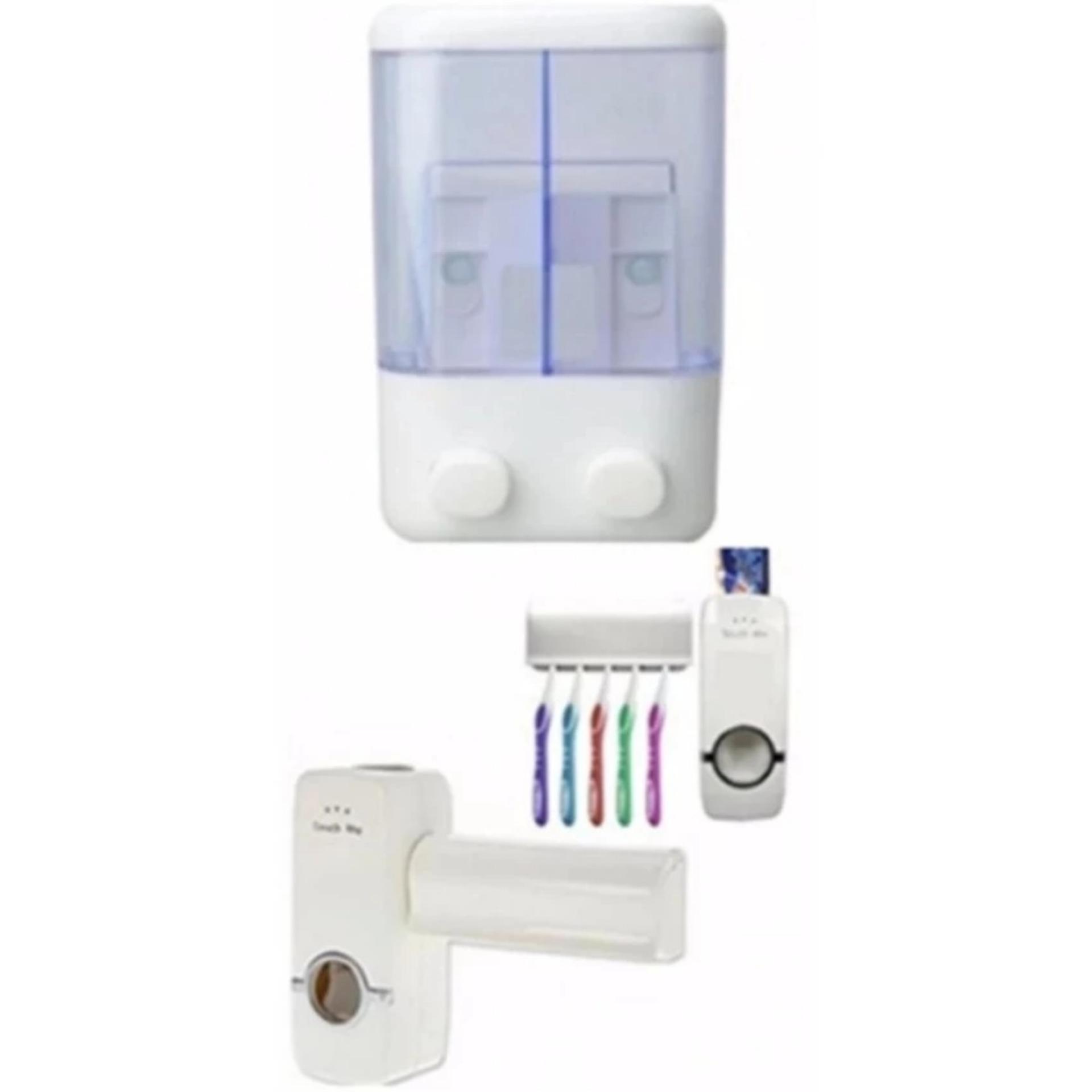 Paket Dispenser Sabun 2 Tabun Dan Dispenser Odol Plus Tempat Sikat Gigi FREE .