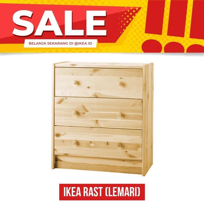 IKEA RAST Lemari 3 laci, kayu pinus