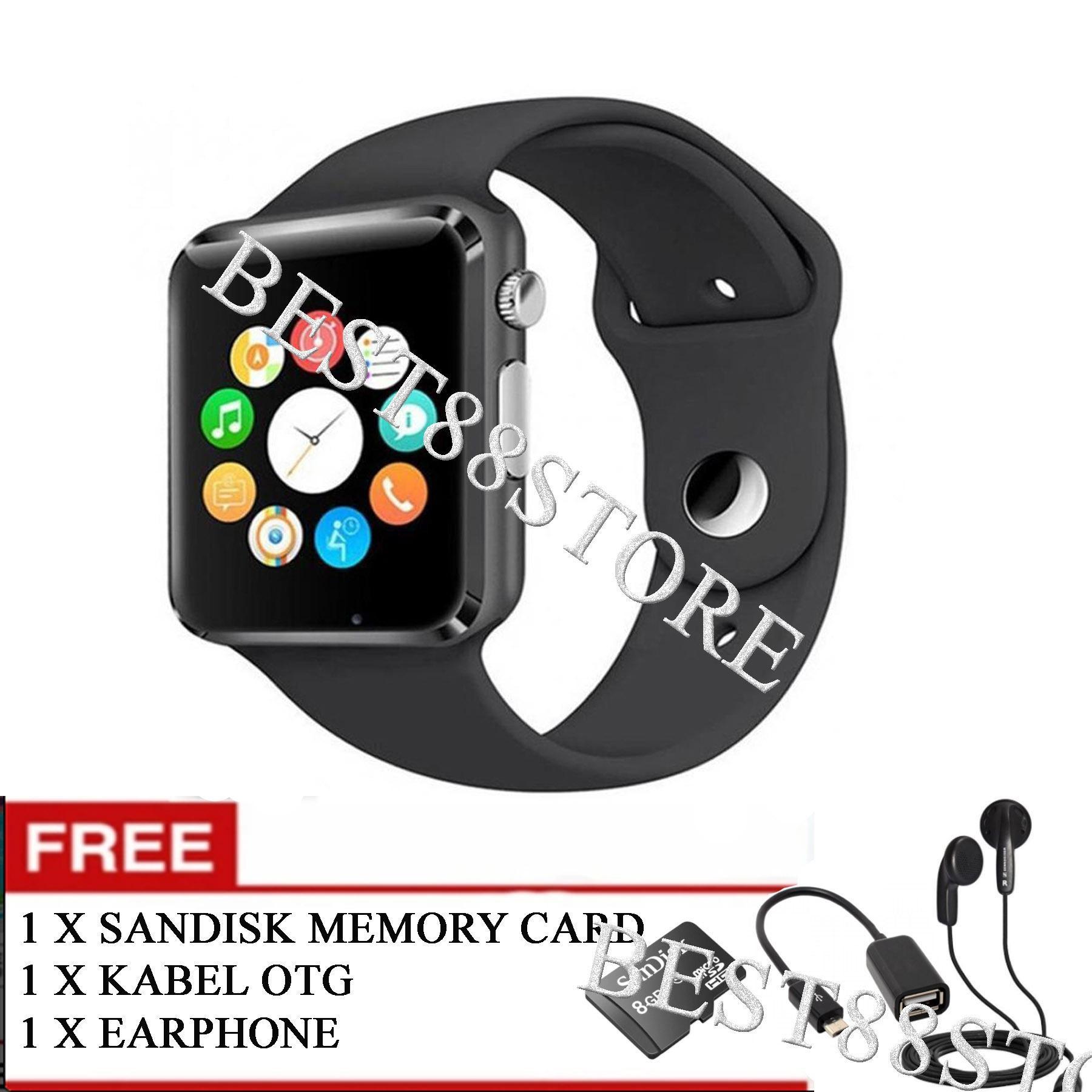 SKY Jam Tangan iwatch U10 / A1 Smart Watch Touch Screen + GSM Smartwatch Gear FREE Memory Card + Kabel OTG + Earphone