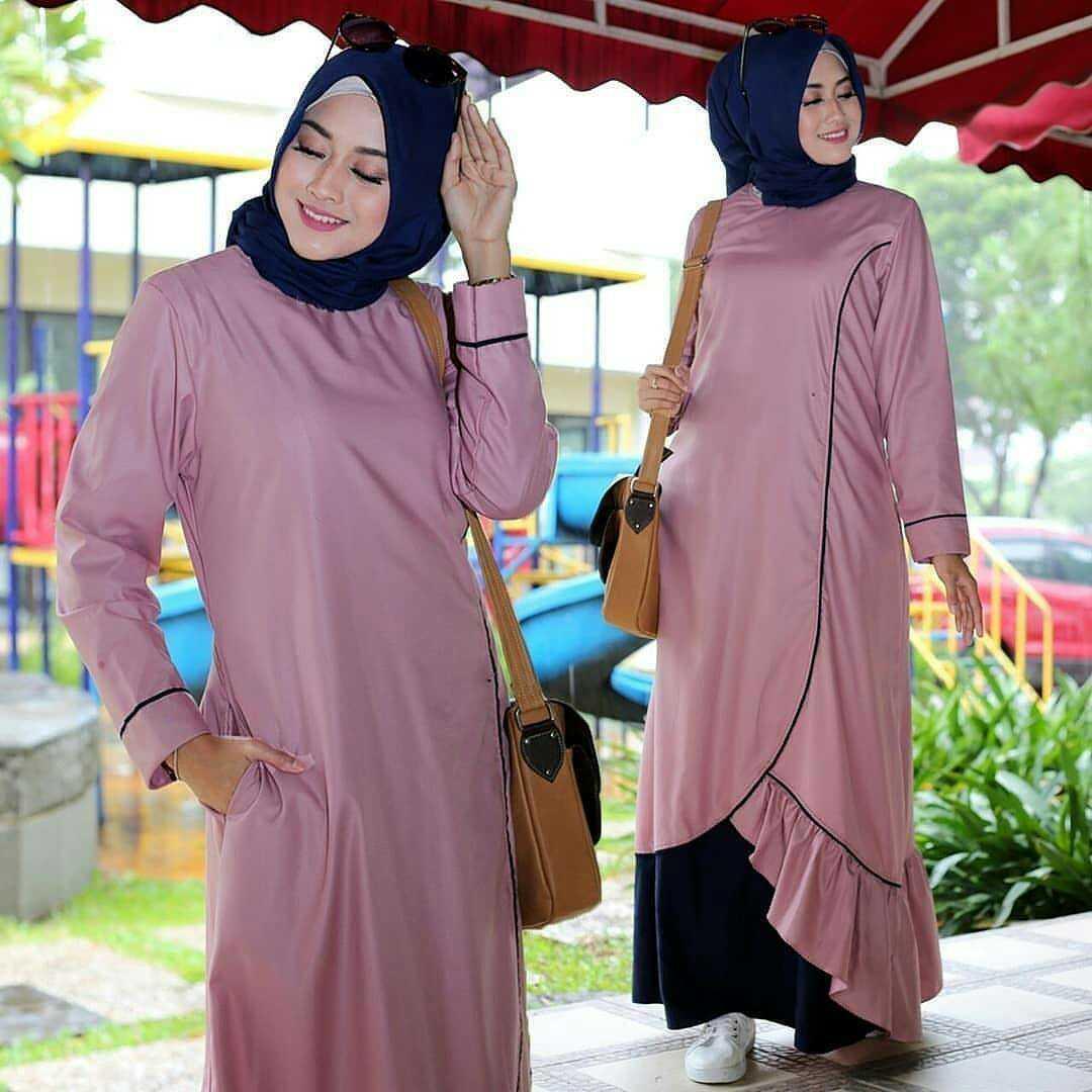 Gamis Berby Maxi Dress Balotelly Baju Muslim Terbaru 2018 Baju Wanita Gamis  Casual Baju Terusan Panjang 867b1e585e
