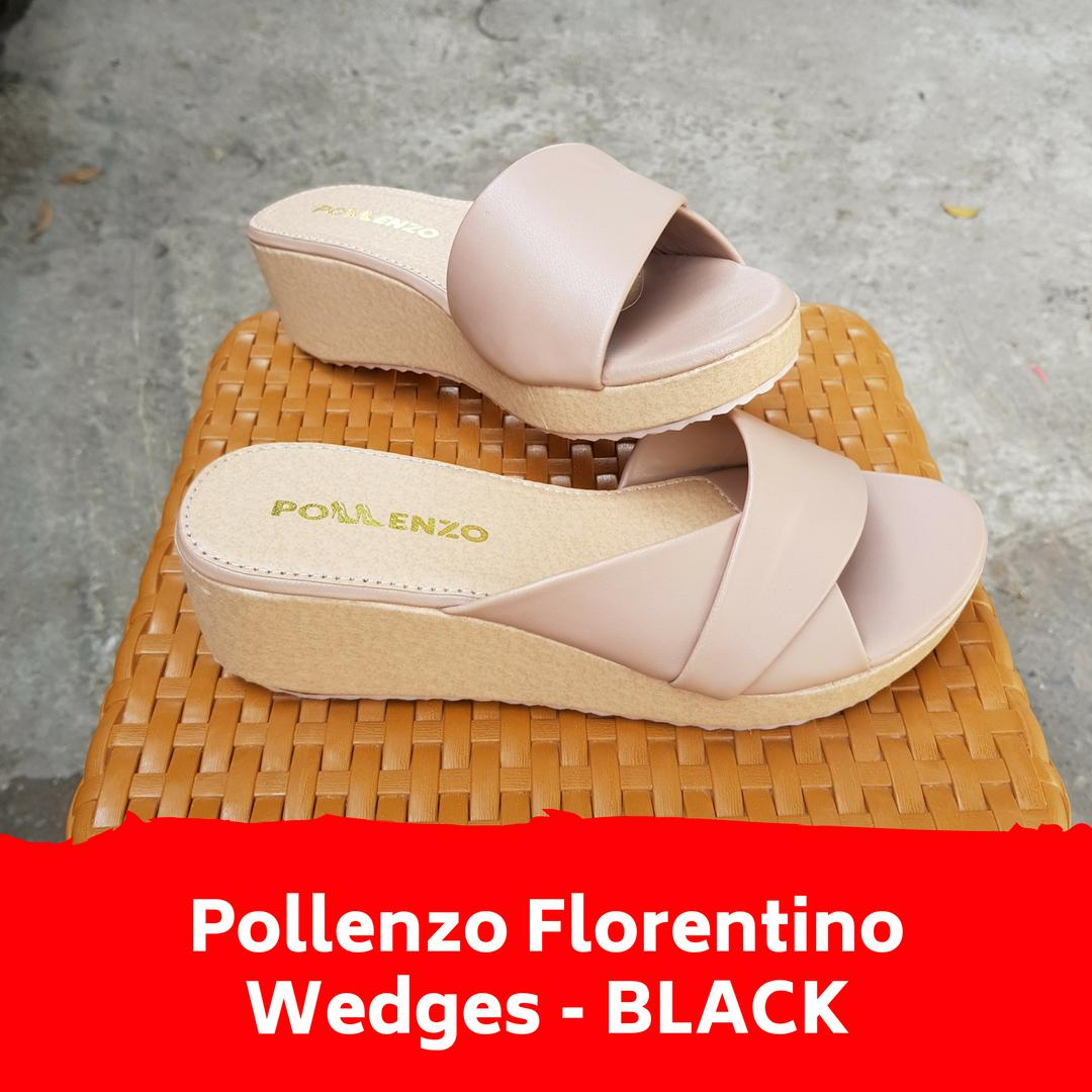 Buy Sell Cheapest Pollenzo Wedges Wanita Best Quality Product Slip On Trendy White Florentino Sandal Mocca