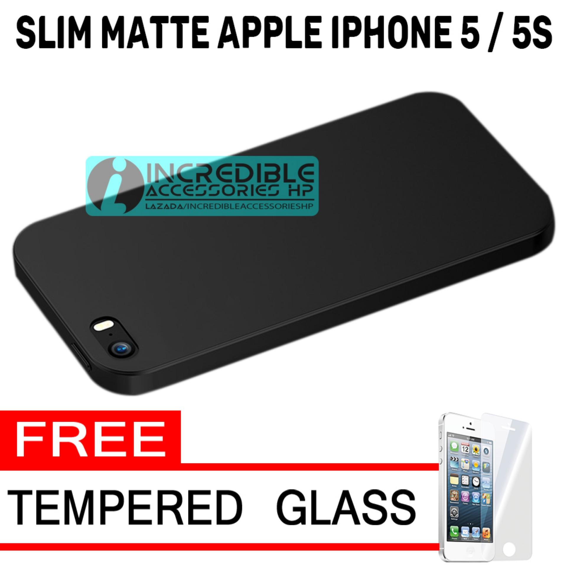 Anti Fingerprint Ultraslim Hybrid Case Baby Soft Babby Skin Softase Silicon Matte  for Apple iPhone 5 / 5s - Black + Free Tempered Glass