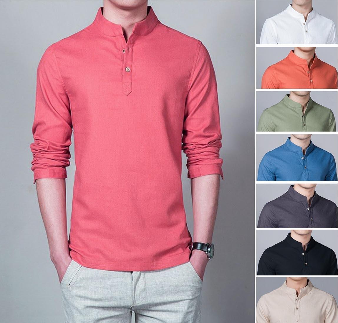 Baju Kemeja Koko Shaquile Polos Warna Pink. Bahan Cotton Lembut Adem. Kemeja Muslim Pria Grosir Gamis Murah Distro