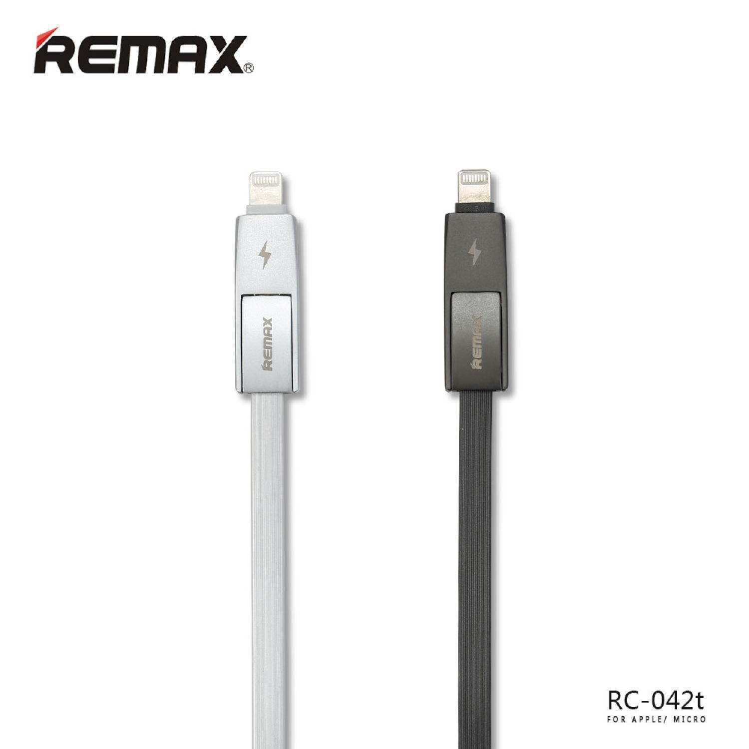 Remax Strive High Speed 2 in 1 Micro Usb / Lightning Cable for Smartphone and iPhone 5/6 - RC-042t / Micro Usb RC-042T / Kabel USB anti oksidan dan timah / Charger Kabel / Kabel charging berbentuk noodle / cas smartphone / iPhone