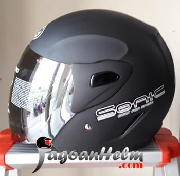 MAZ Helm SONIC Solid Black Doff || helm kyt / helm bogo / helm full face / helm ink / helm sepeda /helm motor/helm nhk/helm retro/helm anak/helm gm