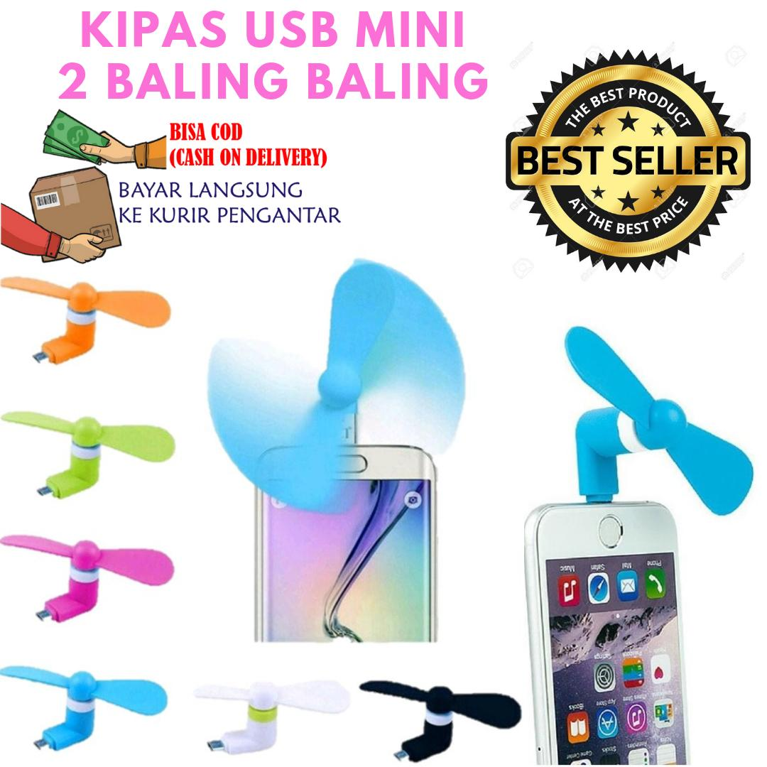 Mini Fan USB - Kipas Angin Mini Handphone Portable / KIPAS XIAOMI / KIPAS USB MINI 2 BALING Mudah Dibawa