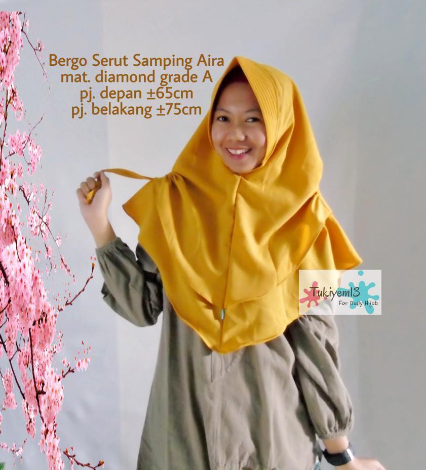 Tukiyem13 - Bergo Instan Serut Kerut Hijab Kerudung Jilbab Wanita Khimar Serut Samping