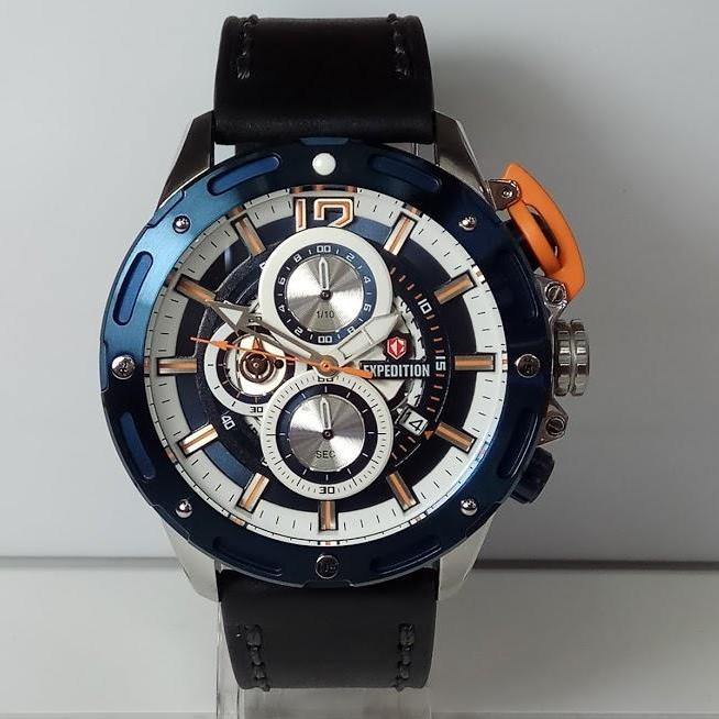 Expedition Jam Tangan Pria E6760MC Chronograph Silver Blue St Steel Leather Strap