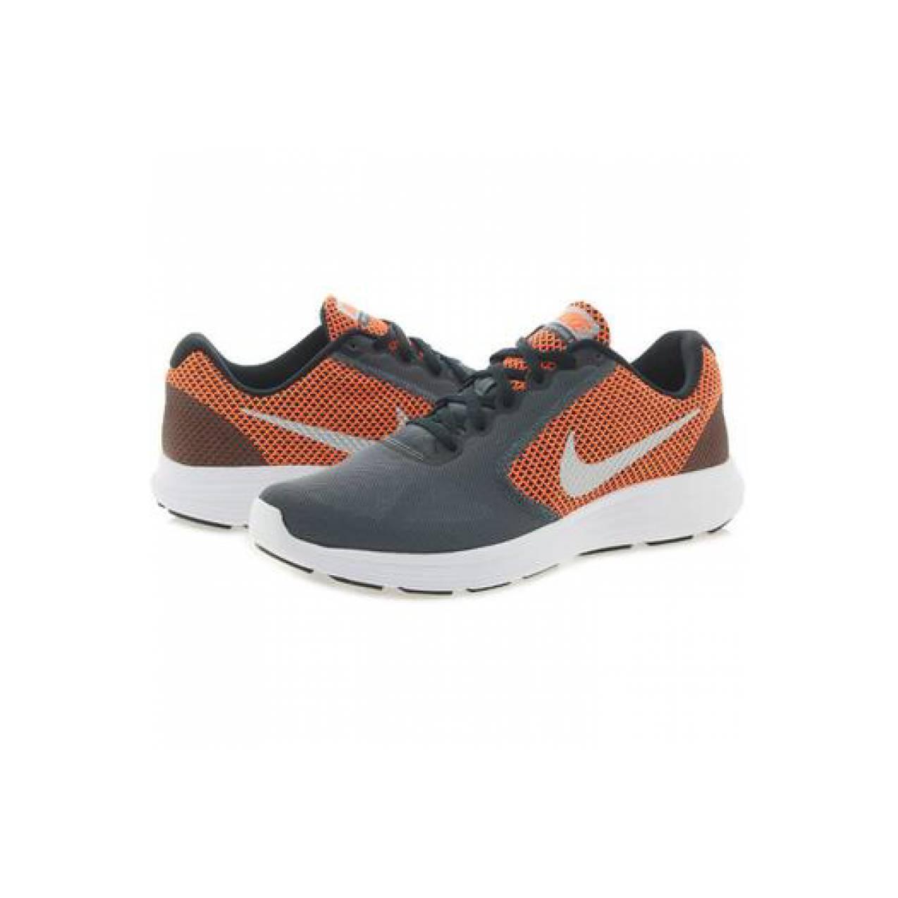Sepatu running nike original Revolution 3 abu abu-orange jogging