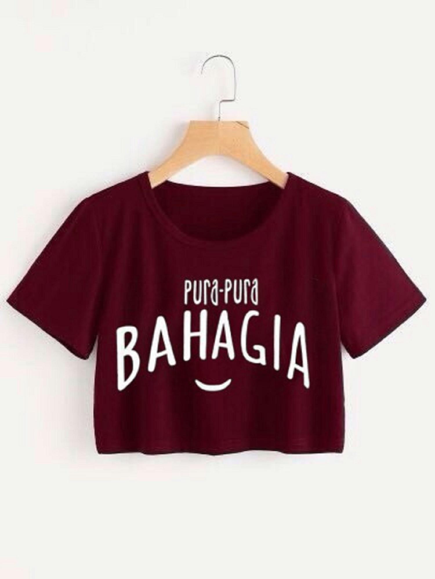 PURA PURA BAHAGIA MARUN CROP TEE / ATASAN WANITA / FIT TO L / BAJU MURAH / TUMBLR / KAOS / MODEL BARU / FASHION