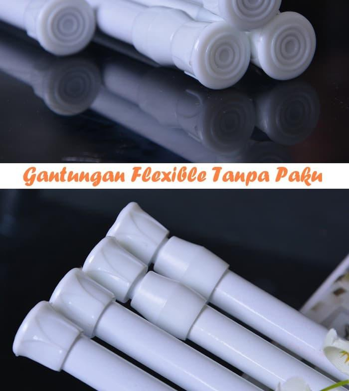 PROMO Size 102-190Cm Tiang Gorden Tirai Gantungan Flexible Tanpa Paku
