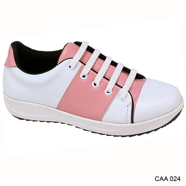 Catenzo Junior Sepatu Tali Sekolah Anak Perempuan Putih Pink - CAA 024