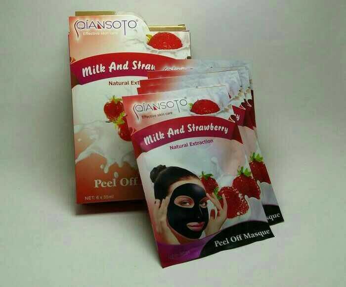 78 Star Qiansoto Masker Wajah Resmi BPOM - Milk & Strawberry - 1 Sachet