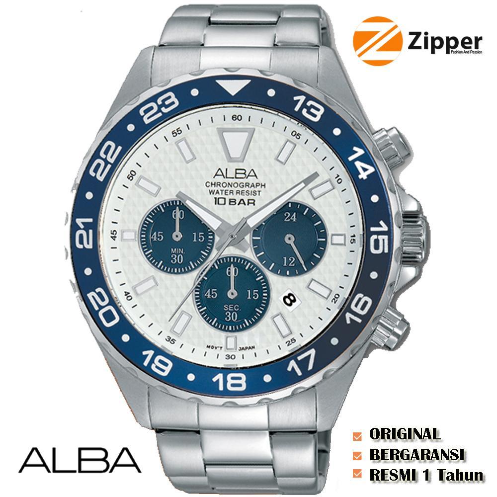 Alba Active Chronograph Jam Tangan Pria - Tali Stainless Steel - AT3909X1