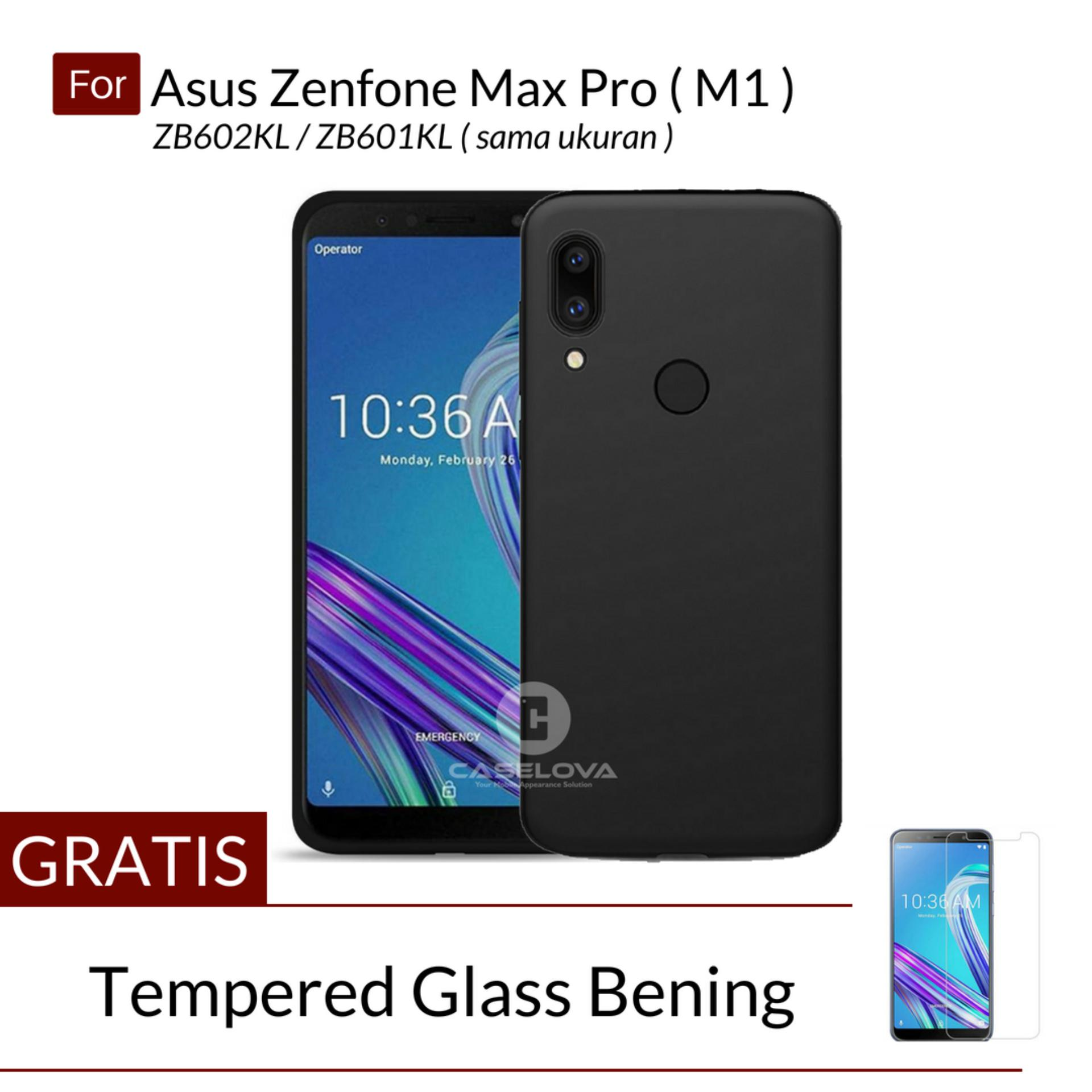 Caselova UltraSlim Black Matte Hybrid Case for Asus Zenfone Max Pro (M1) ZB602KL / ZB601KL - Black + Gratis Tempered Glass Bening