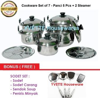 Pencarian Termurah Panci Set 5 Pcs America High Pot Dengan Kukusan / Steamer Stainless BONUS Sodet Set 4 pcs harga penawaran - Hanya Rp176.730