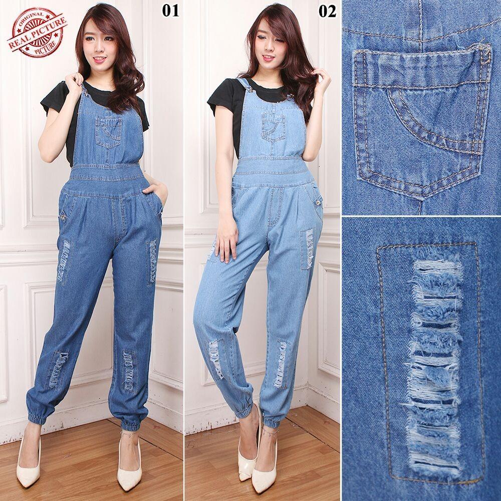 SB Collection Celana Panjang Halena Joger Overall Jumpsuit Jeans Wanita