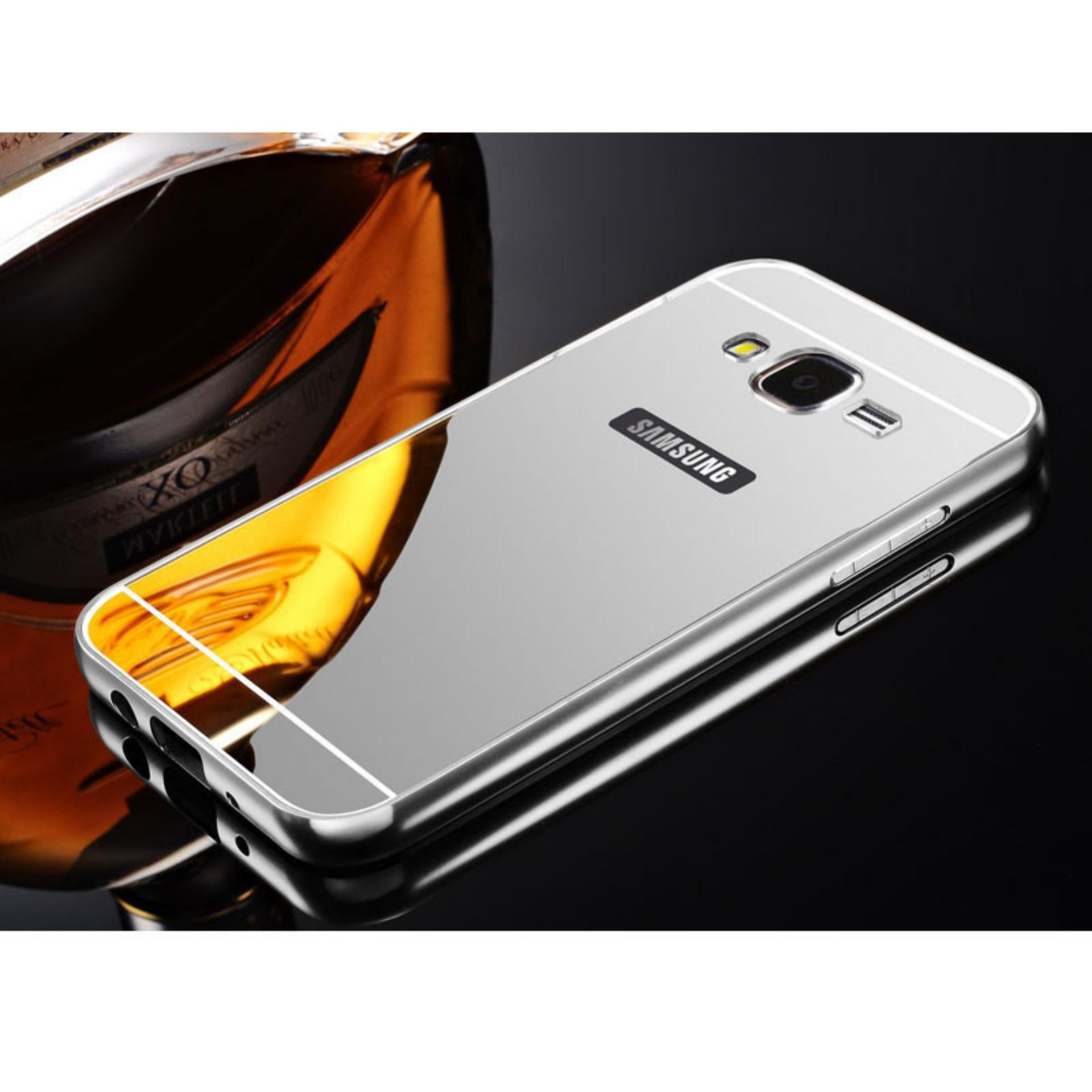 Aldora Case For Samsung Galaxy J2 / Samsung Galaxy J200 Metal Bumper Miror Premium Quality -  Silve