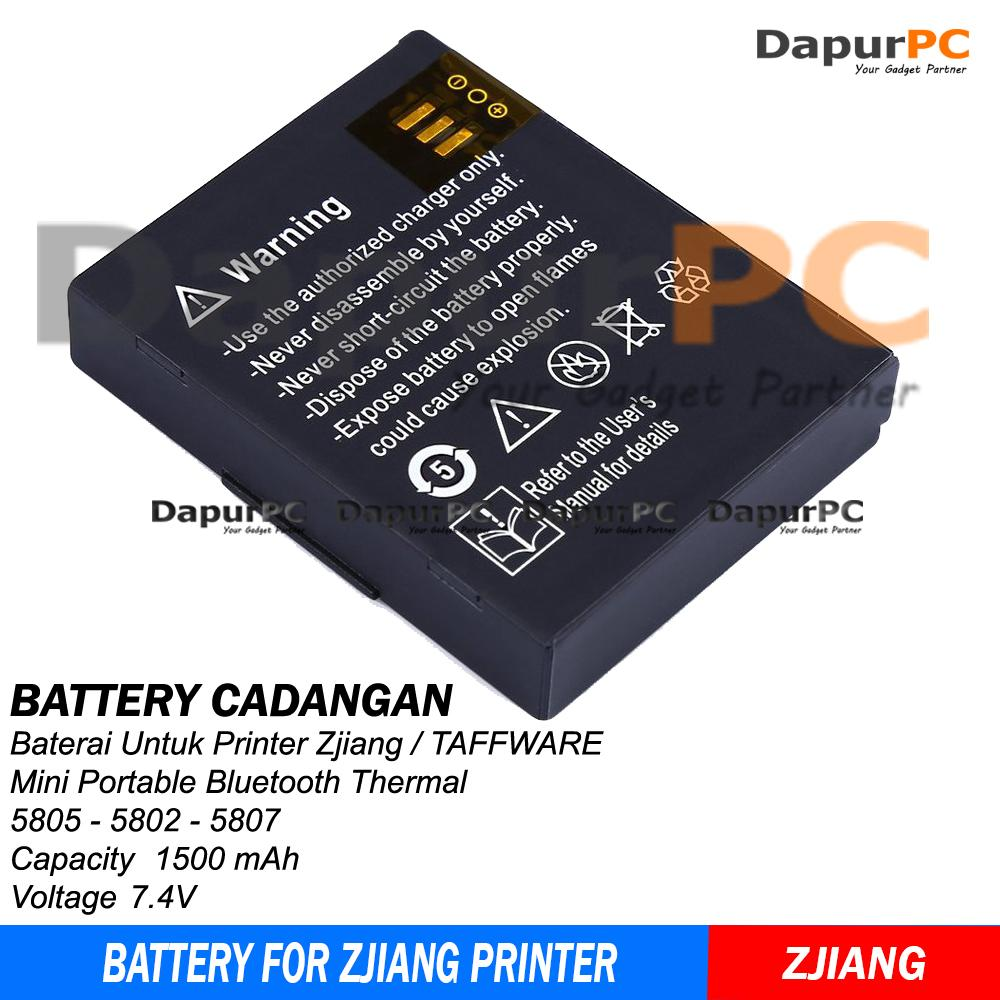 Battery Printer Bluetooth Thermal Zjiang - Taffware 5805 5802 5807