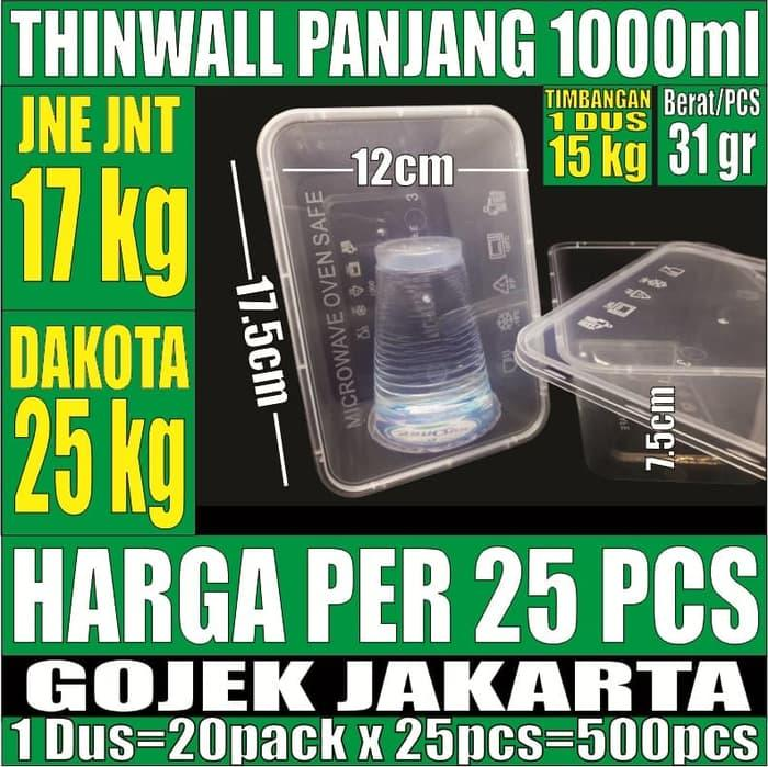 HOT PROMO!!! Kotak Makan 1000 ml Box Nasi Mangkok Plastik Thinwall /Thin Wall Murah - kGg3K4