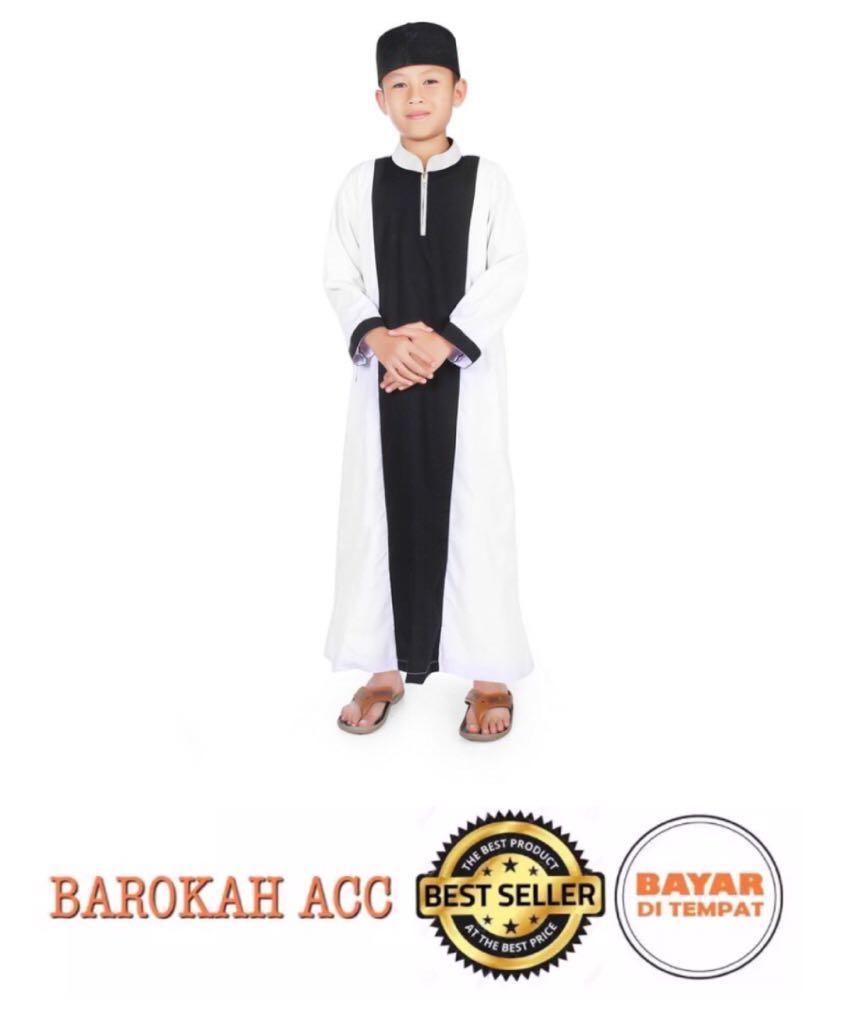 Gamis Koko Anak Laki Laki Cowok Murah Simple Ganteng - Hitam Putih-BR