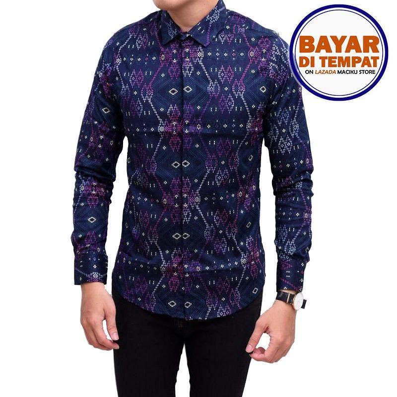 Maciku Kemeja Batik Songket Pria Slimfit / Kemeja Batik Kerja Baju batik kantor Kemeja Formal