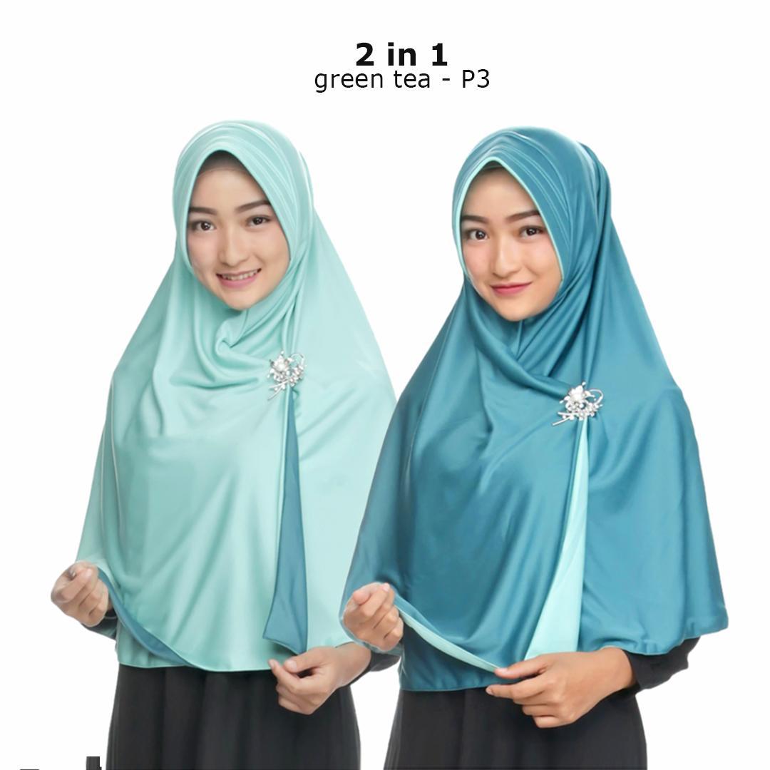 Zaannah Hijab Jilbab Bolak Balik Instan 2 in 1 Hijab Instant Bergo Fashion Muslim Terbaru Wanita Kekinian Model Sekarang Model Jaman Now Dua warna Khimar Syari Jumbo Jilbab Pengajian Pesta Multifungsi Pet Anti Tembem