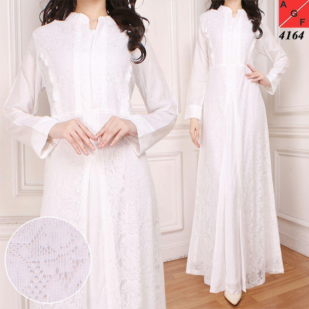 SALE! Baju Gamis Wanita Jumbo / Gamis Brukat / Syari Putih Umroh / Busana Muslim Wanita #4164 JMB (SIZE 5L)