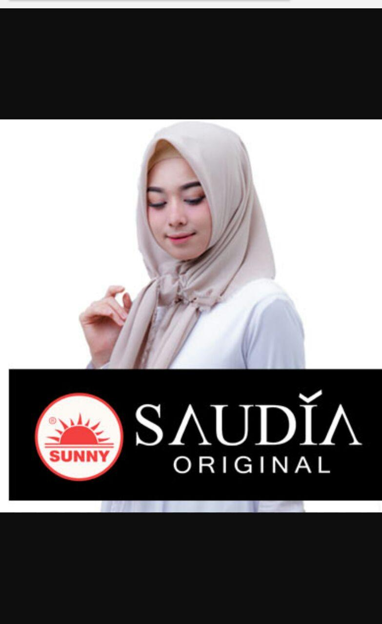 Hijab Segi Empat Saudia By Sunny Original Motif Polos ( BUKAN YANG KW