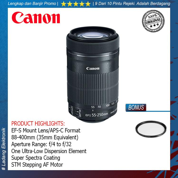Canon EF-S 55-250mm f/4-5.6 IS STM Lensa Kamera Free Uv filter
