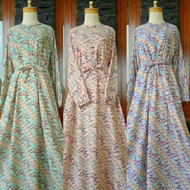 Gamis batik mega mendung dress motif syari busana muslim baju wanita kondangan lebaran Cirebon corak (salem)