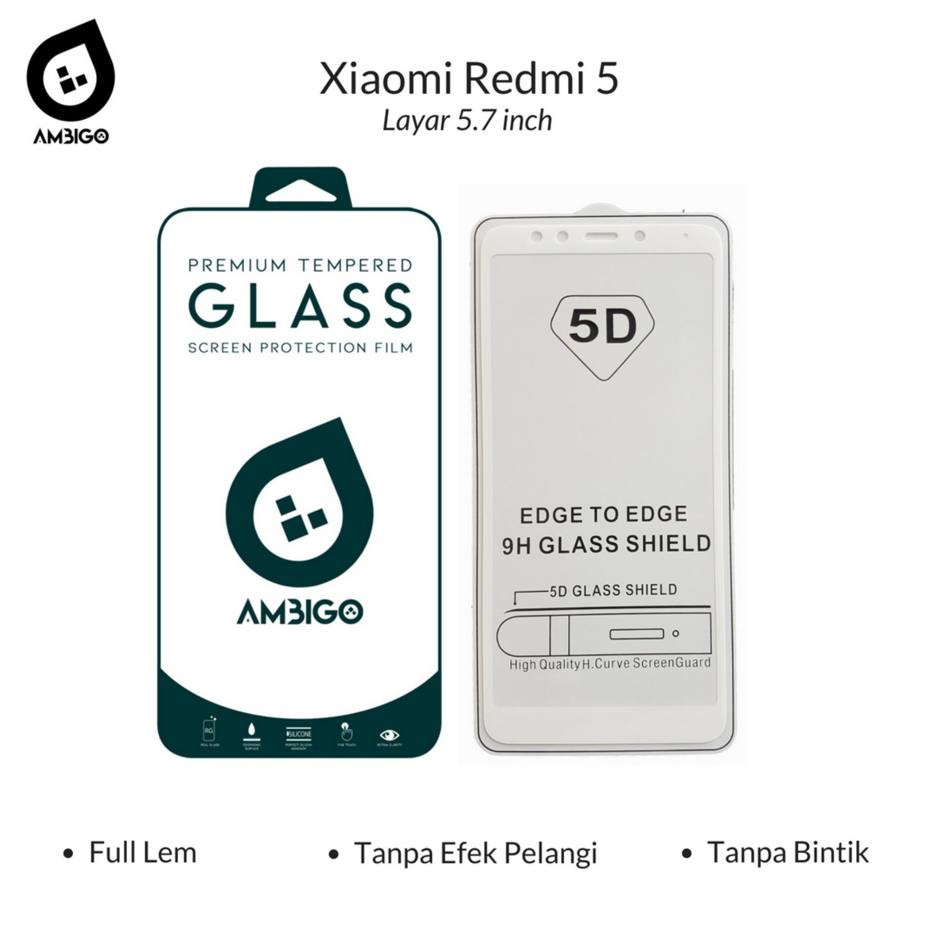 Accessories Hp Ambigo Tempered Glass 5D Full Cover Warna / Anti Gores Kaca Full Lem UntukXiaomi Redmi 5 ( Layar 5.7 inch ) - White