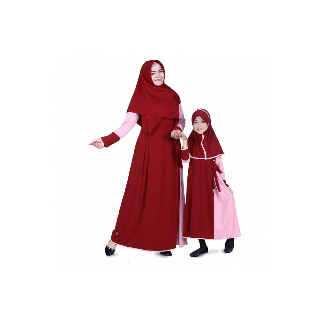 Baju Muslim Couple Gamis Ibu dan Anak Jersey -Marun CMJRN02