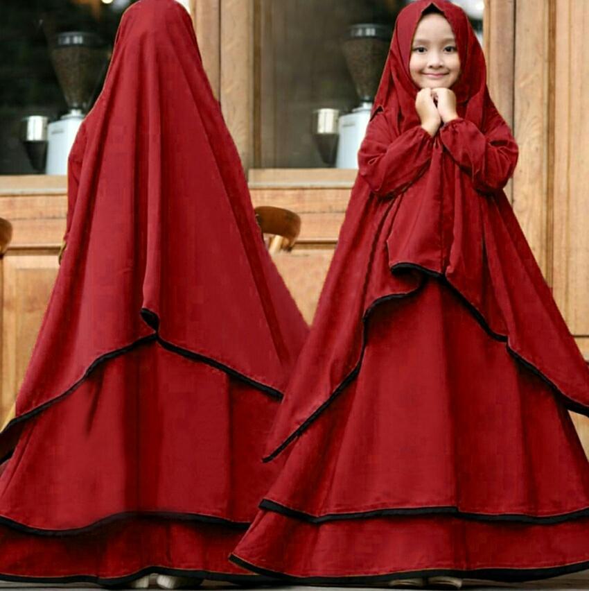 SW Syari Ramadhani Kids Gratis Bergo Lebar Bahan Serena LD 80 PJ 110 Umur 7-10th Baju Lebaran Anak Gamis Kekinian