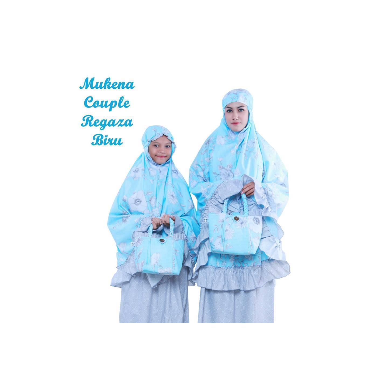 PMM - Mukena Couple Kembaran Ibu Dan Anak Regaza Biru Katun Jepang Can