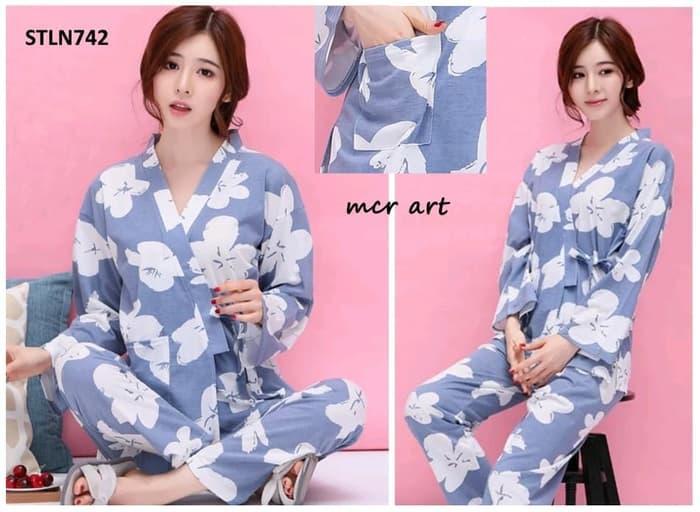 Baju Tidur Wanita Piyama Kimono Big Flowers Soft Blue 838c8d53cc