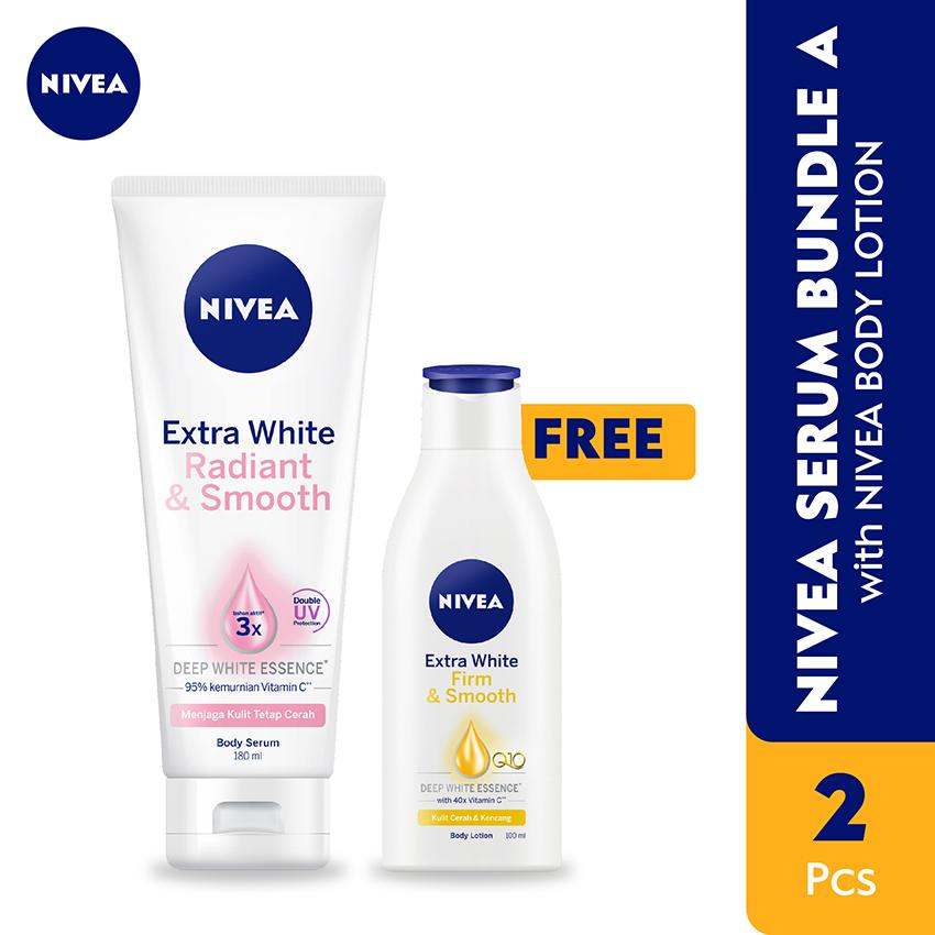 NIVEA BUNDLING BODY SERUM WHITE RADIANT & SMOOTH WITH BODY LOTION EXTRA WHITE FIRMING SPF 15
