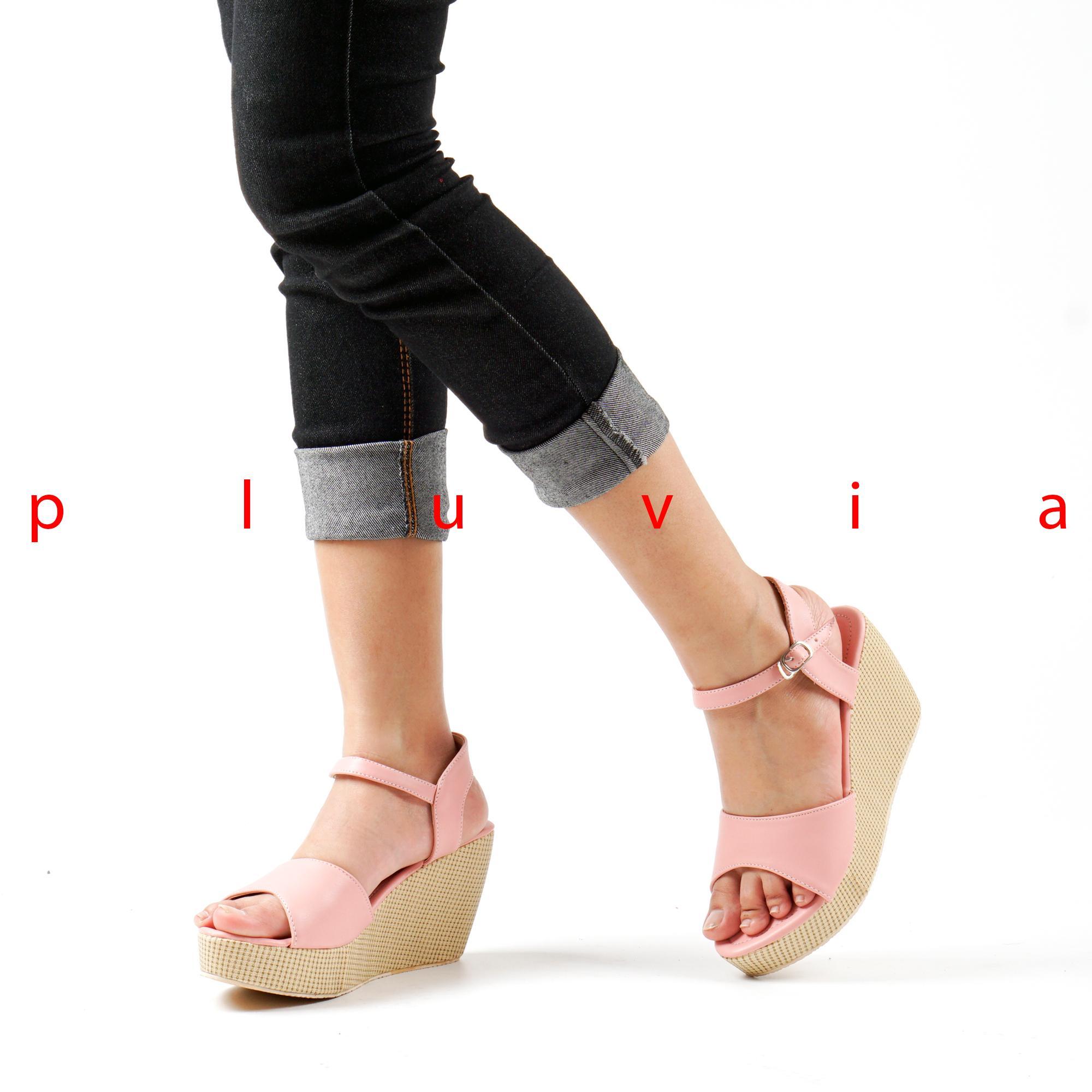 Pluvia - Moya Sepatu Sandal Wedges Wanita Ankle Strap CY07 - Salem