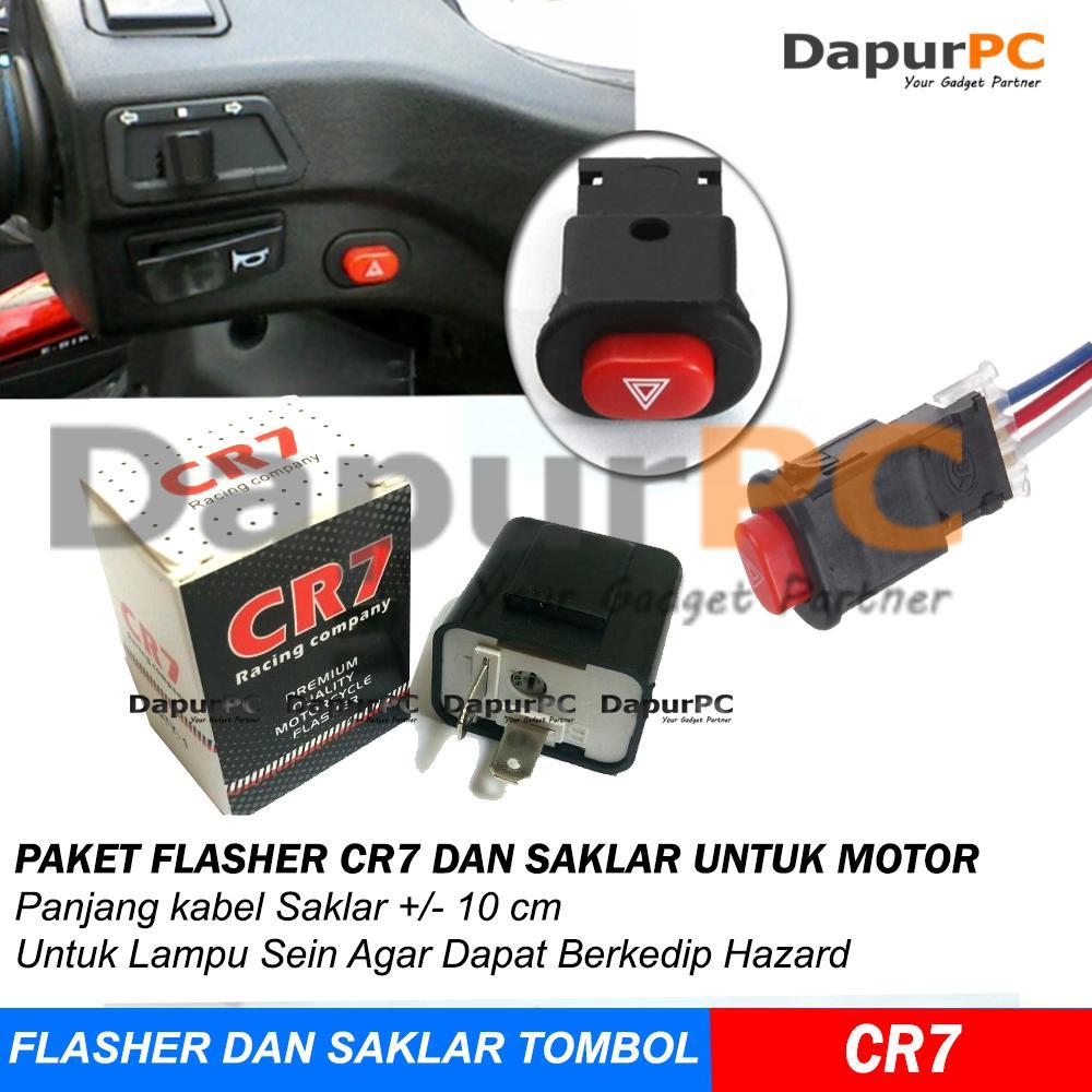 Paket Termurah Flasher Cr7 + Saklar Tombol On Off Lampu Hazard Dan Lain-Lain Untuk Motor By Dapurpc.
