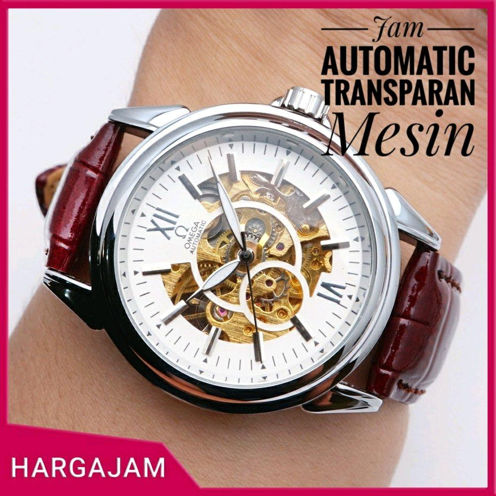Jam Tangan Automatic Omega Skeleton OS0738 Leather by hargajam matic otomatis transparan mesin