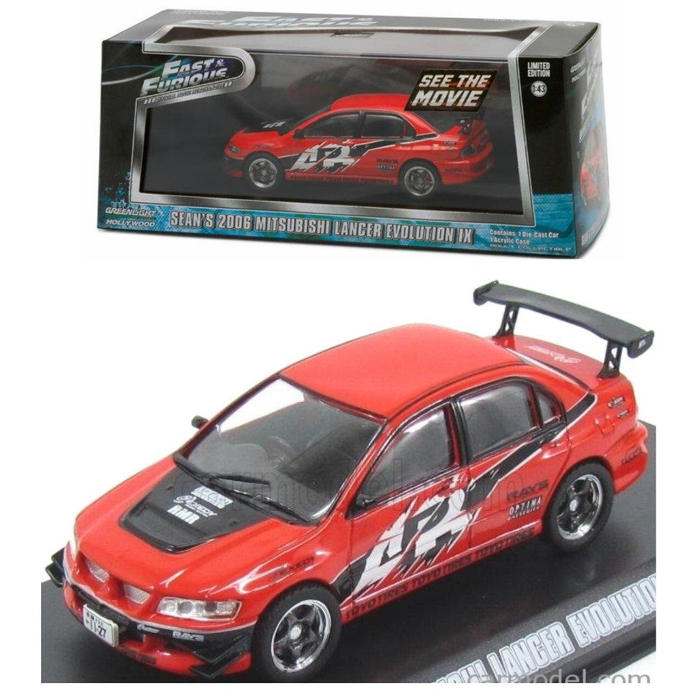 Greenlight Fast Furious Sean 2006 Mitsubishi Lancer Evolution IX Red # Vovo Toys vovotoys