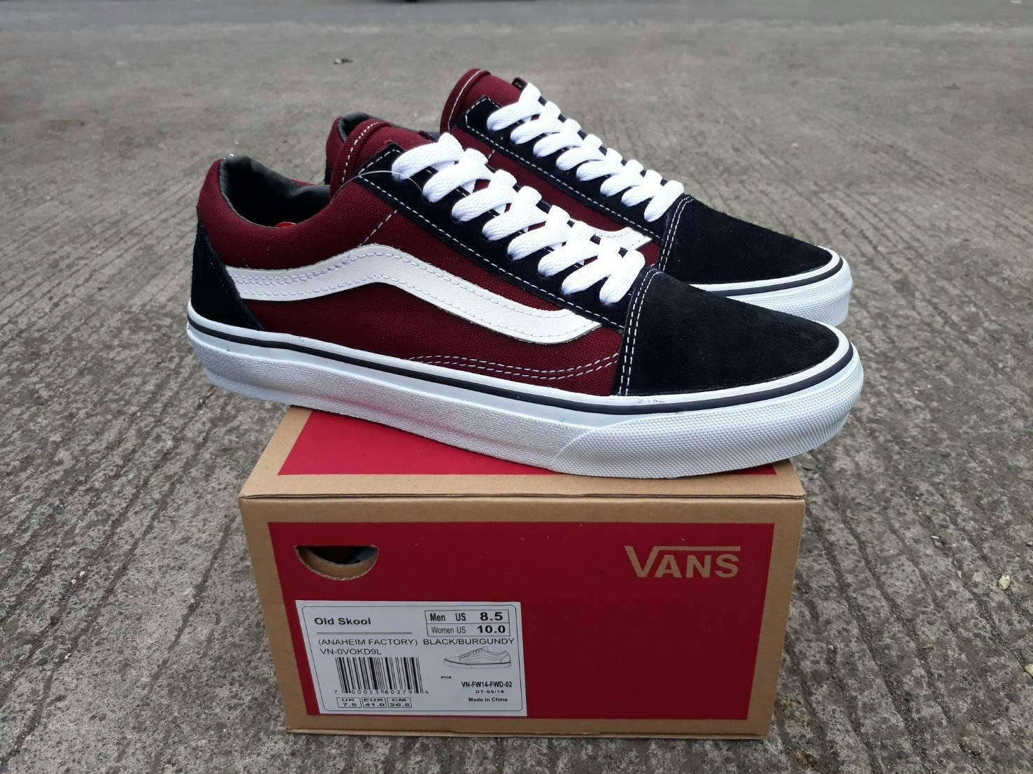 sepatu vans old skool (ANAHEIM FACTORY) black Burgundy waffle DT premium BNIB made in china